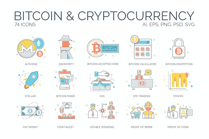 Thumbnail for 74 Bitcoin & Cryptocurrency Icons