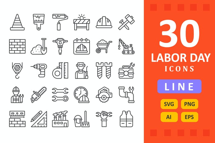 30 Labor Day Icons - Line