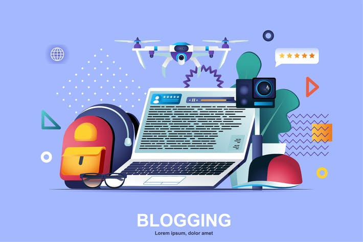 Thumbnail for Bloggen mit flachem Konzept Vektor illustration