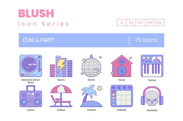Thumbnail for 70 EDM & Party Line Icons
