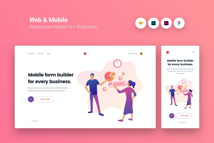 Thumbnail for Web & Mobile Responsive Cover UI + Illustration 3