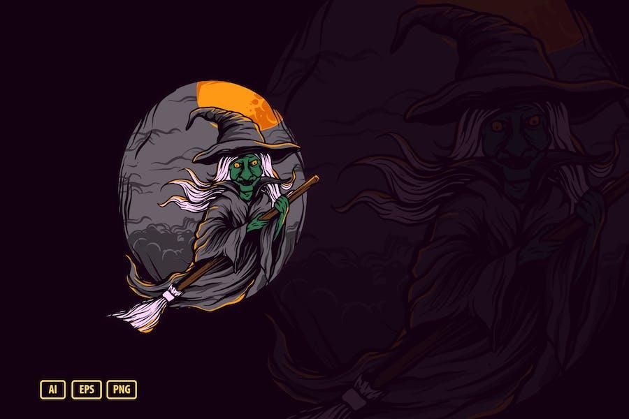 Ведьма Хэллоуин Иллюстрация V.3