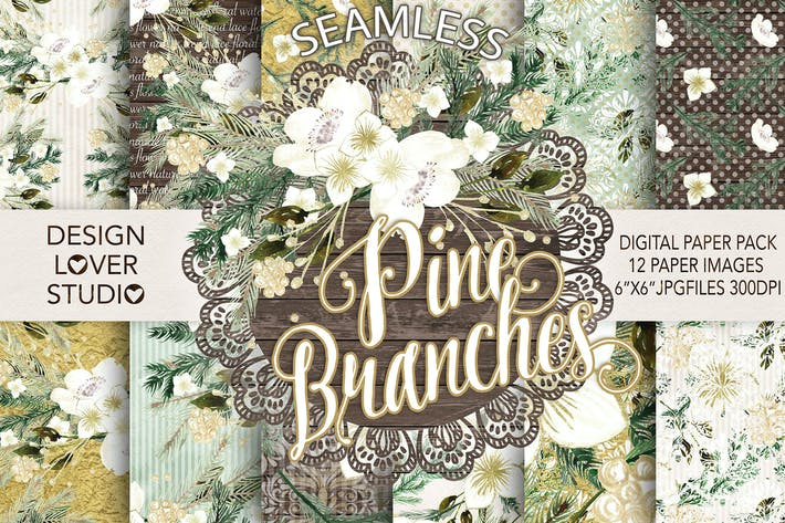 Thumbnail for Watercolor Pine Branches digital papers