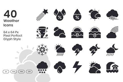 40 WetterIcons Set - Glyphe