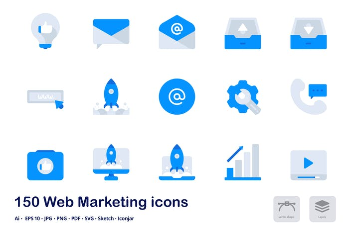 Thumbnail for Web Marketing Accent Duo Tone Flat Icons