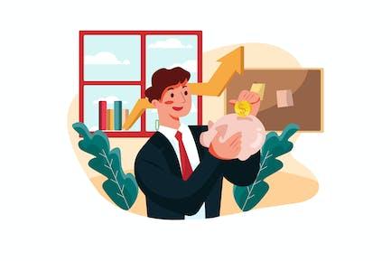 Businessman saving his profit Illustration