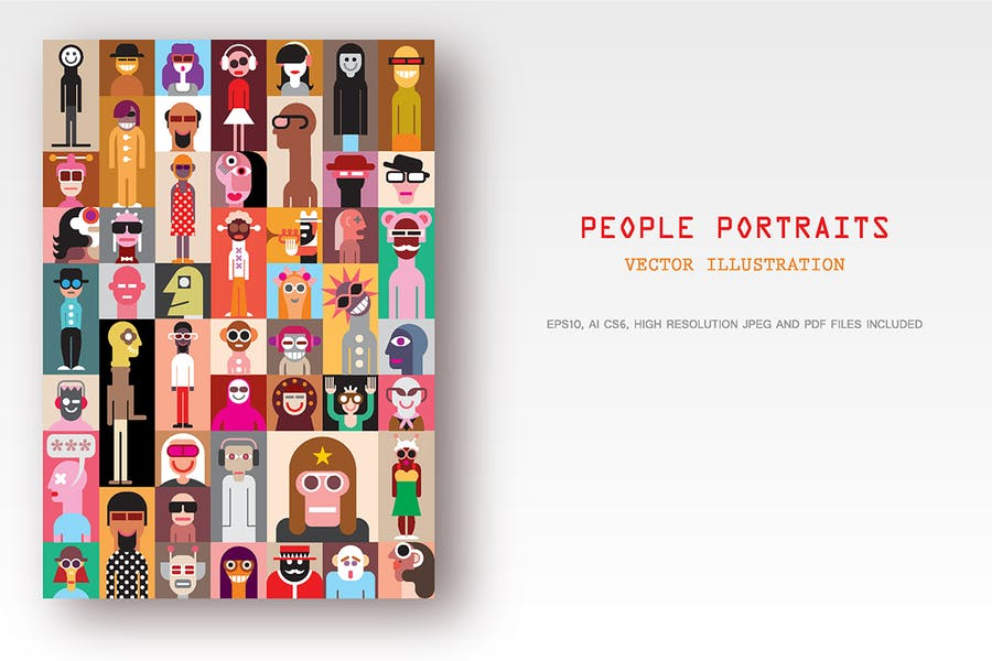 People Portraits vector illustration