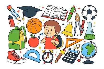 Back To School Doodle Illustration