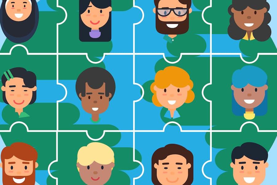 Diversity Community Puzzles Illustration