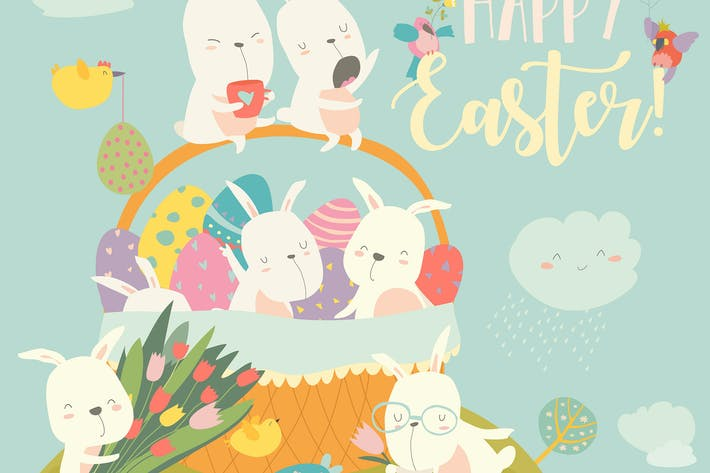 Thumbnail for Easter bunnies and easter egg. Vector illustration