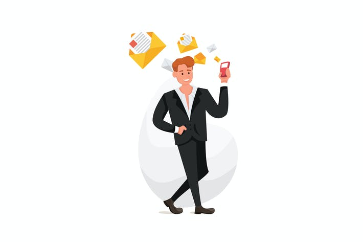 Thumbnail for Businessman walk with a smartphone in hand