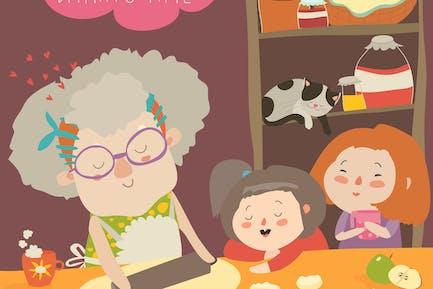 Grand-mère et les enfants cuisinent ensemble dans une cuisine.