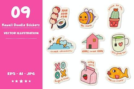 Kawaii Doodle Stickers Set