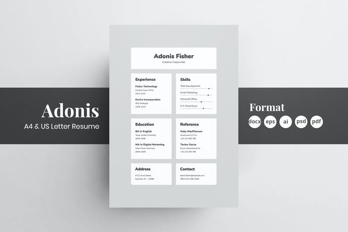 Cover Image For Resume/CV - Adonis