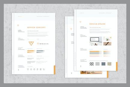 Konzeptdesign und Mood Board Vorlagen