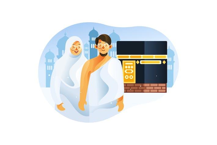 Thumbnail for Paar Muslim vor Kaaba in Pilgerfahrt Hajj