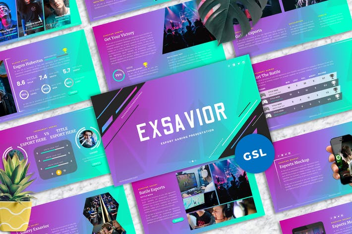 Thumbnail for Exsavior - Gaming Googleslide Template
