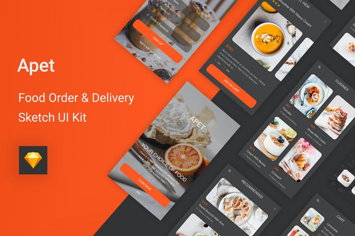 Thumbnail for Apet - Food Order & Delivery Sketch UI Kit