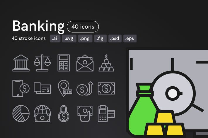 Thumbnail for Banking Icons (40 icons)