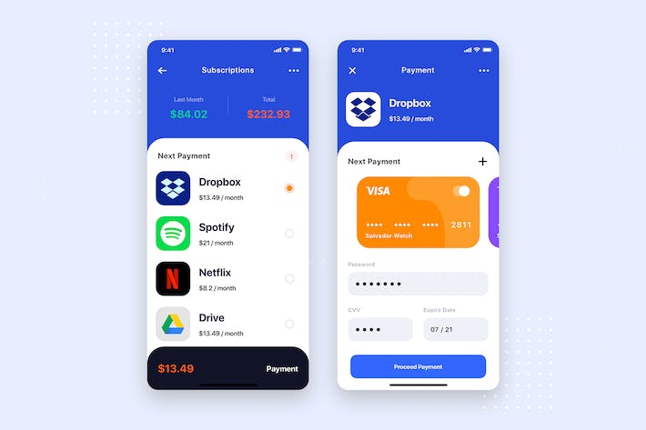 Thumbnail for Subscription Payment Mobile App UI Kit Template