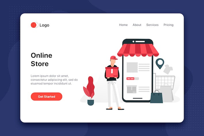 Thumbnail for Online Store flat concept for Landing page