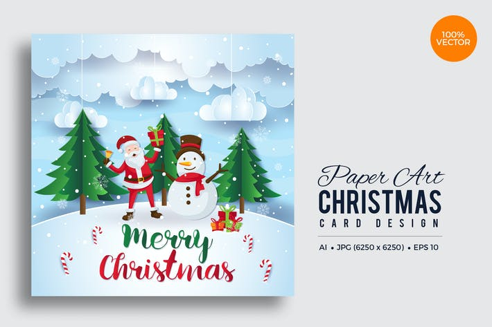 Thumbnail for Merry Christmas Square Vector Card Vol.5