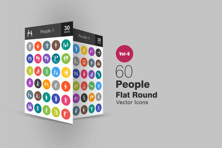 Thumbnail for 60 People Glyph Multicolor BG Icons
