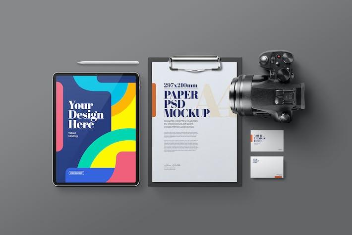 Thumbnail for Tablet, Zwischenablage & Kamera Mockup
