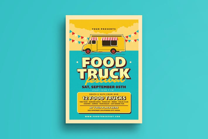Thumbnail for Retro Food Truck Event Flyer