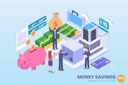 Isometric Money Savings Vector Concept
