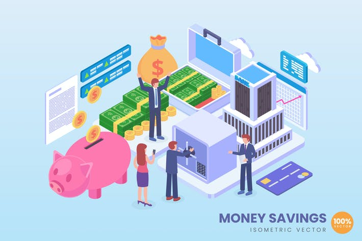 Thumbnail for Isometric Money Savings Vector Concept