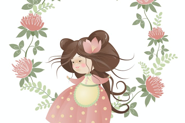 Thumbnail for Cute girl in flower wreath