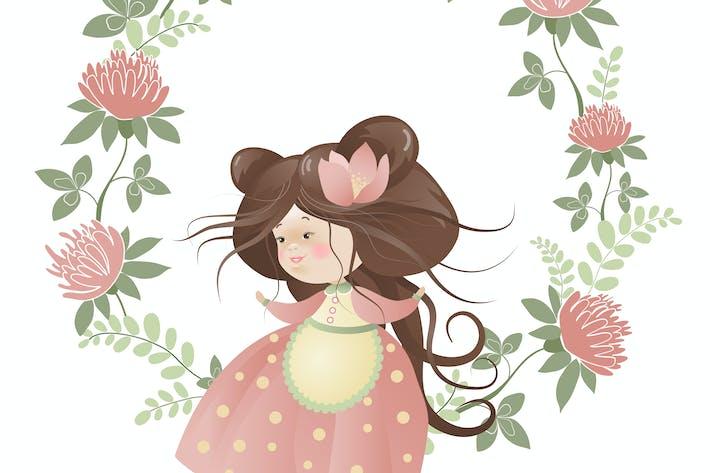 Thumbnail for Cute girl in flower wreath