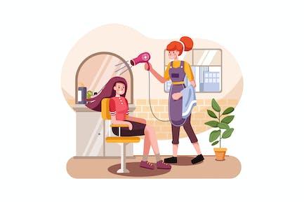 Junge Frau mit ihren Haaren von Kosmetikerin gefärbt