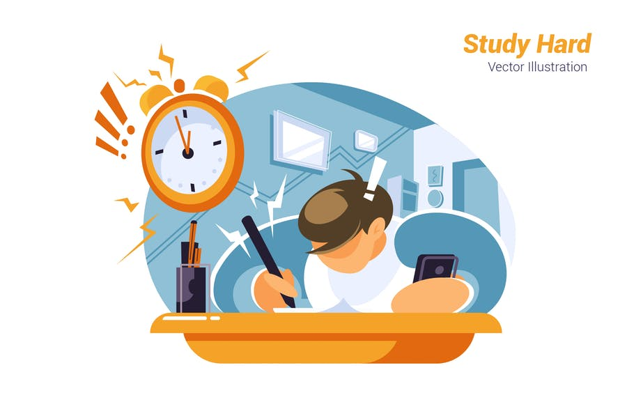 Study Hard - Vector Illustration