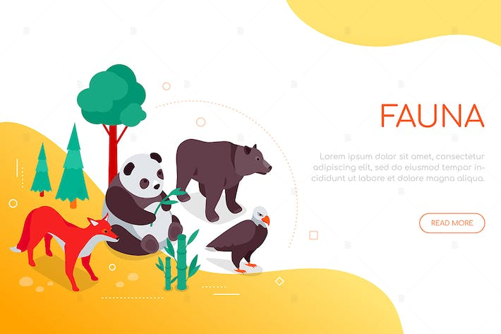 Thumbnail for Fauna concept - colorful isometric web banner