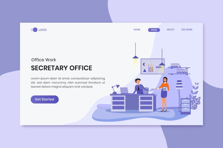 Thumbnail for Secretary Office  Business Worker Landing Page