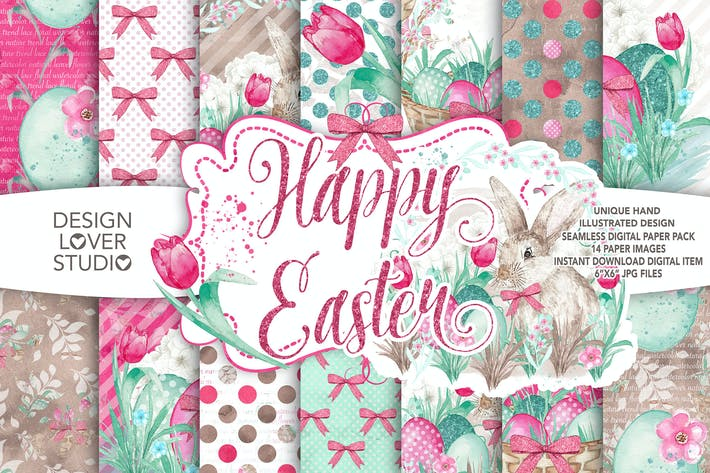 Thumbnail for Watercolor Happy easter digital paper pack II.