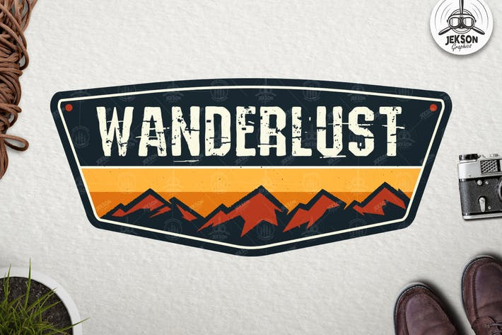 Thumbnail for Wanderlust Badge, Vintage Travel Logo Patch Vector