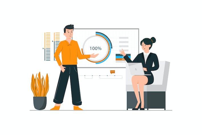 Thumbnail for Mitarbeiter, die einem Kunden ein Projekt präsentieren
