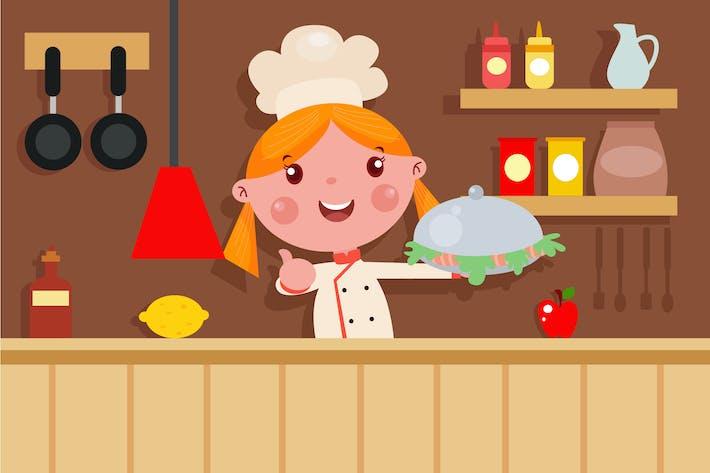 Thumbnail for Little Chef - Vector Kids Illustration | Vol.2