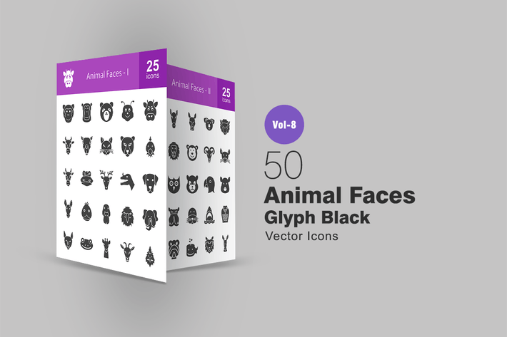 Thumbnail for 50 Animal Faces Glyph Icons
