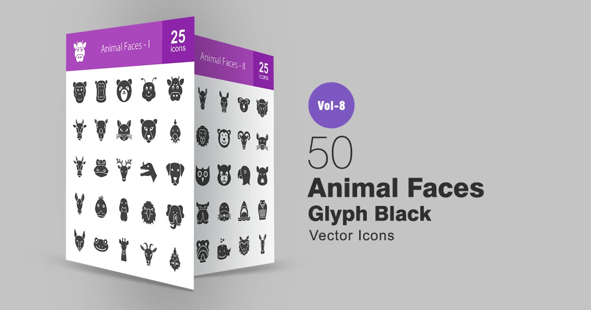 Download 50 Animal Faces Glyph Icons by Unknow