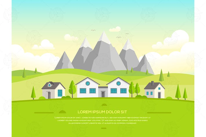 Thumbnail for Houses by the mountains - vector illustration