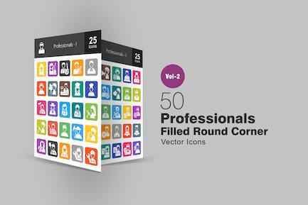 50 Professionals gefüllte runde EckIcons