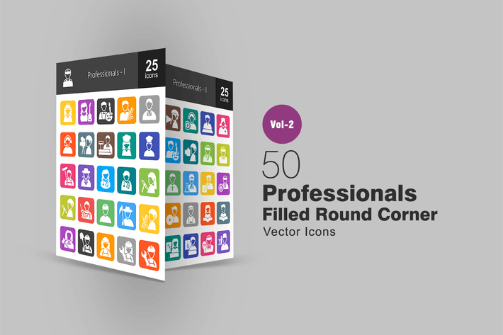 Thumbnail for 50 Professionals Filled Round Corner Icons