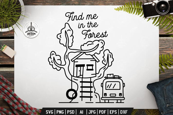 Thumbnail for Find Me In Forest. Adventure Vector Emblem Design