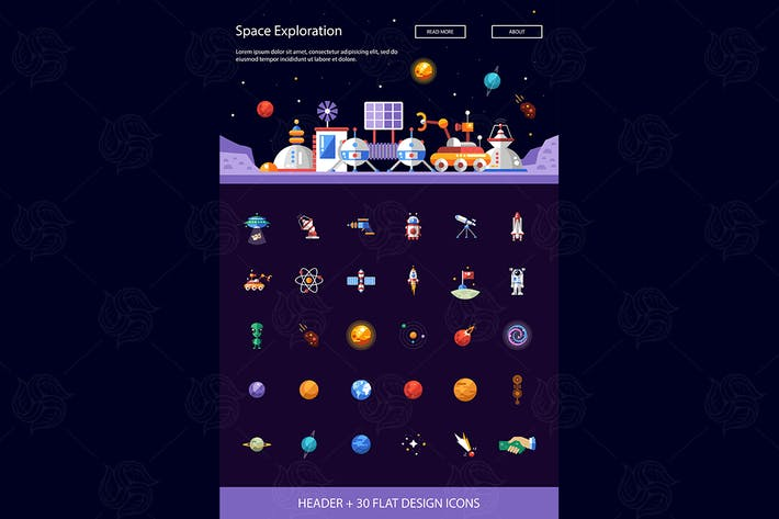 Thumbnail for Space - moderne flache Design-Stil-Icons Set
