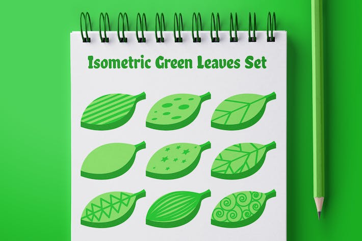 Thumbnail for Isometric Green Leaves Set