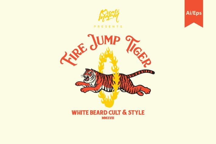 Thumbnail for Fire Jump Tiger Logo Template